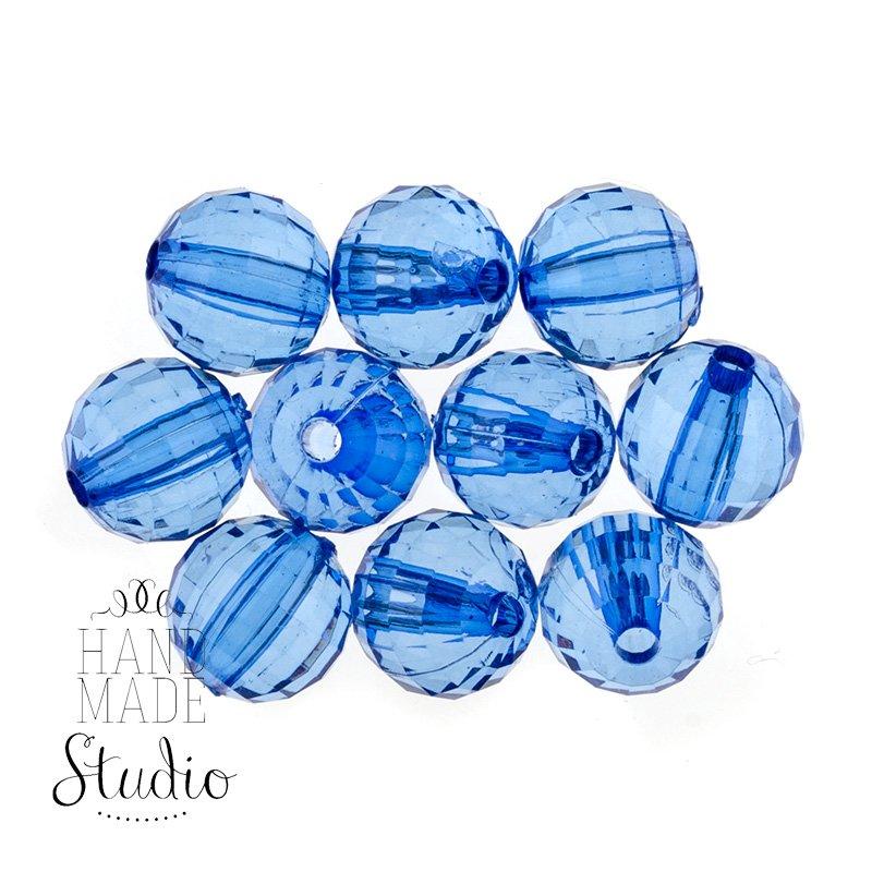 Пластиковые бусины прозрачные, цвет синий, 0,8 см, 10 штук