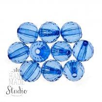 Пластиковые бусины прозрачные, цвет синий, 1 см