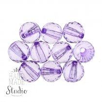 Пластиковые бусины прозрачные, цвет фиолетовый, 1 см