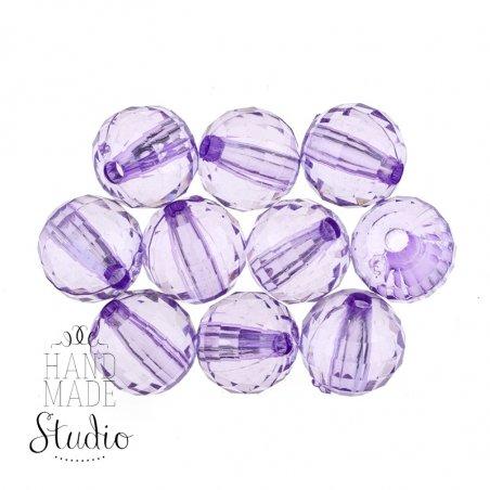 Пластиковые бусины прозрачные, цвет фиолетовый, 0,8 см, 10 штук