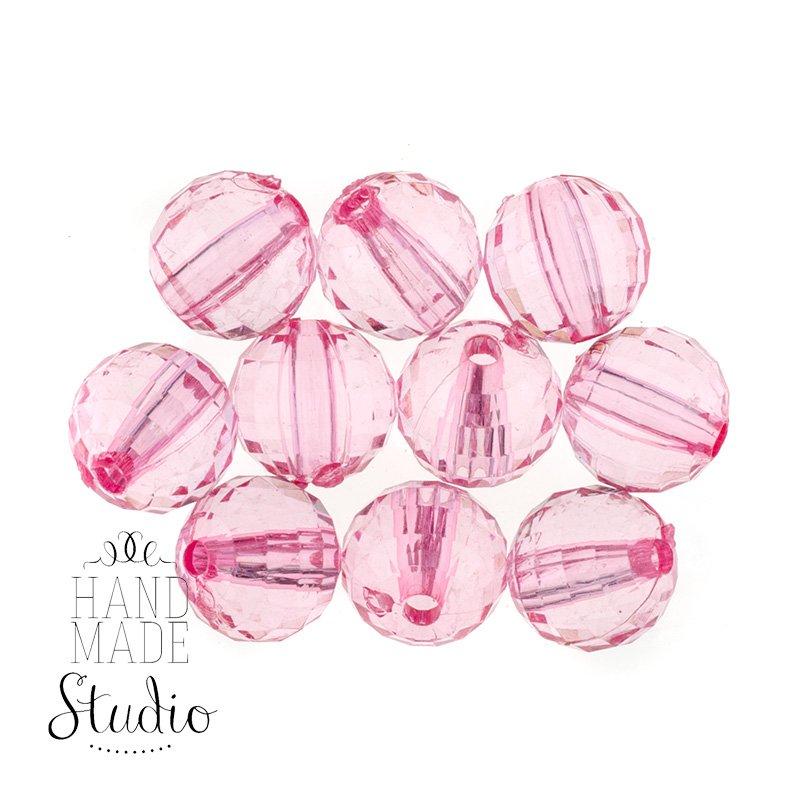 Пластиковые бусины прозрачные, цвет светло-розовый, 0,8 см, 10 штук