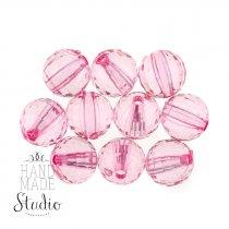 Пластиковые бусины прозрачные, цвет розовый, 1 см