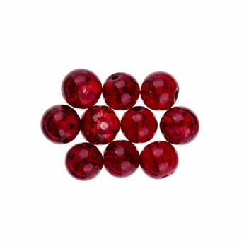 №125 Бусины с эффектом битого стекла темно-красные, 10 мм