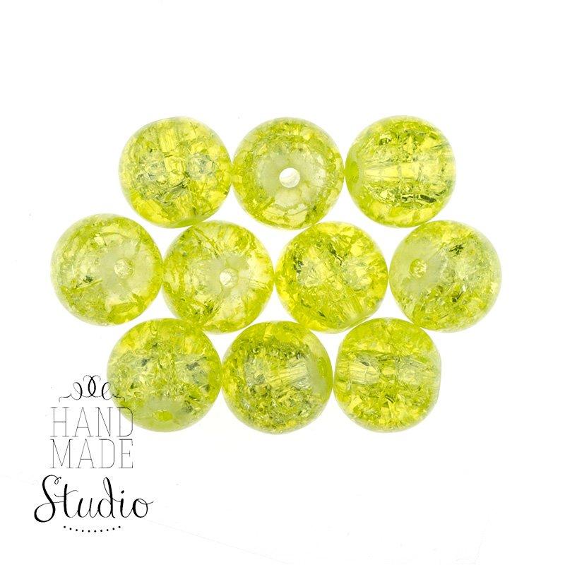 №126 Бусины с эффектом битого стекла лимонные, 10 мм
