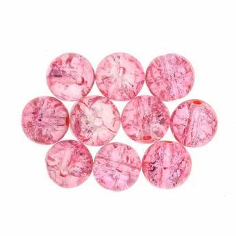 №127 Бусины с эффектом битого стекла розовые, 10 мм