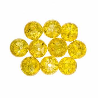 №128 Бусины с эффектом битого стекла желтые, 10 мм