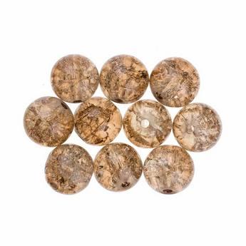№129 Бусины с эффектом битого стекла бледно-коричневые, 10 мм