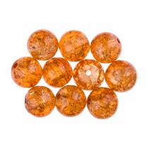 №132 Бусины с эффектом битого стекла оранжевые, 10 мм