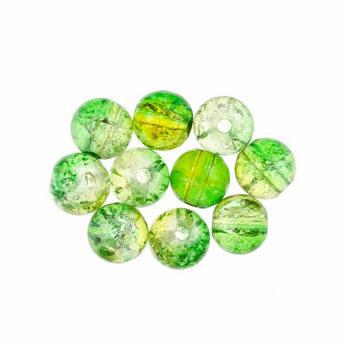 №133 Бусины с эффектом битого стекла лимонно-зеленые, 10 мм