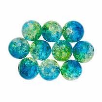 №134 Бусины с эффектом битого стекла желто-голубые, 1 см, 10 шт