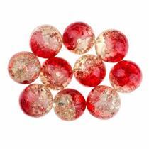 №136 Бусины с эффектом битого стекла красно-оранжевые, 1 см, 10 шт
