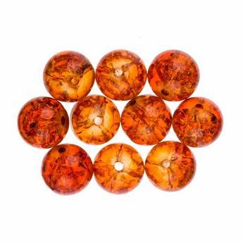 №138 Бусины с эффектом битого стекла темно-оранжевые, 10 мм