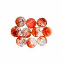№151 Бусины с эффектом битого стекла бело-красные, 8 мм