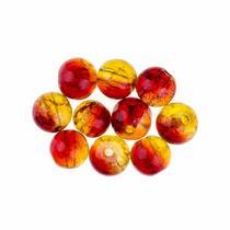 №152 Бусины с эффектом битого стекла желто-красные, 8 мм