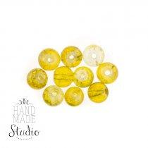 №159 Бусины с эффектом битого стекла желтые, 6 мм