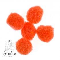 Текстильные мохнатые бусины, цвет оранжевый, 1,5 см
