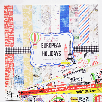 "Набор двусторонней бумаги 30,5х30,5 см ""European holidays"" 10шт"