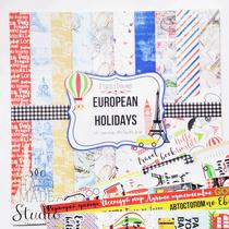 "Набор двусторонней бумаги 30,5х30,5 см ""European holidays"",  200г/м2, 10шт"