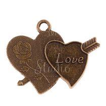 Двухсторонняя бронзовая  металлическая подвеска Два сердца