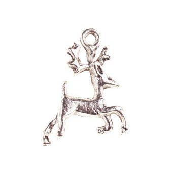 Двухстороння серебряная металлическая подвеска Олень