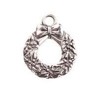Двухстороняя серебряная металлическая подвеска Венок