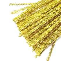 Синельная проволока блестящая, золотой люрекс, 30 см, 1 штука