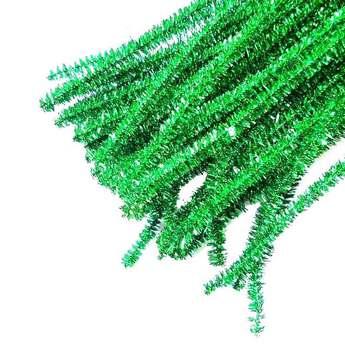 Синельная проволока блестящая, зеленый люрекс