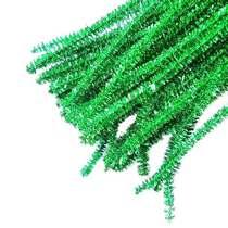 Синельная проволока блестящая, зеленый люрекс, 30 см, 1 штука