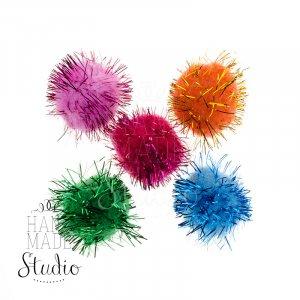 Текстильные мохнатые бусины ( помпоны ) с люрексом, цвет микс 2,5 см 5 шт.
