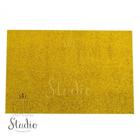 Клеевой фоамиран с глиттером, цвет золотой 2 мм. 20х30 см