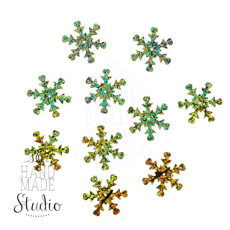 Пайетки Снежинки, цвет голографическое золото 2,3 см 10 шт.