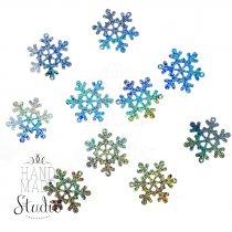 Пайетки Снежинки, цвет голографическое серебро 2 см 10 шт.