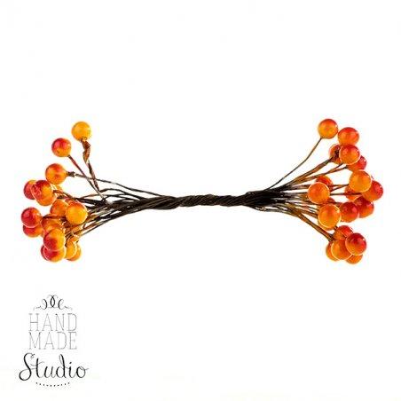 Ягода декоративная лаковая, цвет красно-оранжевый