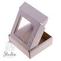 Подарочная коробочка с прозрачным окошком, цвет белый 10х10х3 см.
