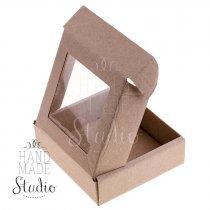Подарочная коробочка с прозрачным окошком, цвет крафт 10х10х3 см.