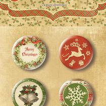 "Набор скрап-фишек для скрапбукинга ""Christmas Night"" 4 шт."