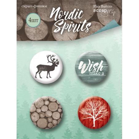 "Набор скрап-фишек для скрапбукинга ""Nordic Spirits"" 4 шт."