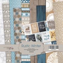 "Набор односторонней бумаги 20х20см ""Rustic Winter"", 190г/м2, 10шт"