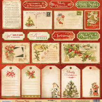 Лист односторонней бумаги 30x30 от Scrapmir Карточки из коллекции Christmas Night, 190г/м2, 1 лист