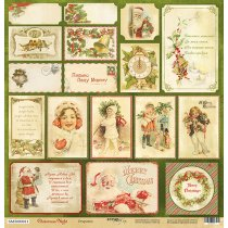 Лист односторонней бумаги 30x30 от Scrapmir Открытки  из коллекции Christmas Night, 190г/м2, 1 лист