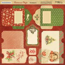 Лист двусторонней бумаги 20х20см Конверты Christmas Night от Scrapmir, 190г/м2, 1 лист