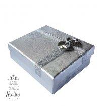 Подарочная коробочка, цвет серебро 65х80х22 мм.