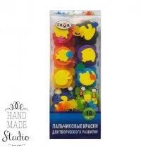 Набор пальчиковых красок Банка-пазл+штампики, 10 цв.
