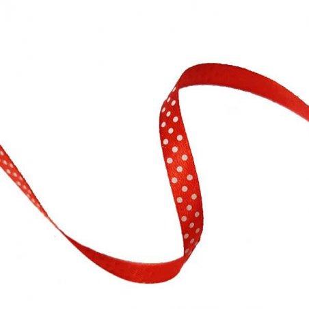 Атласная лента красная в горошек 1 см