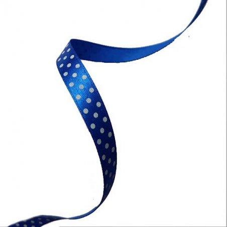 Атласная лента синяя  в горошек 1 см