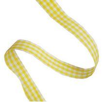 Лента тканевая Клетка 2,3 см, цвет желтый