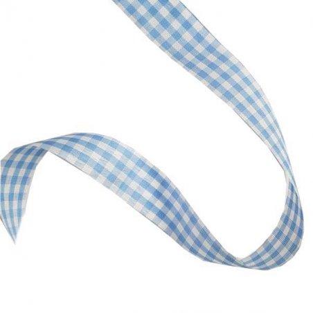 Лента тканевая Клетка 2,3 см, цвет синий