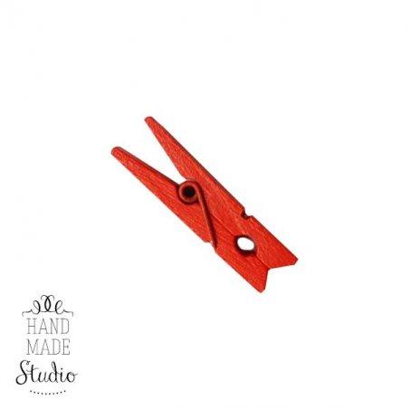 Прищепка деревянная окрашенная 3,5 см, цвет красный