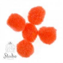 Текстильные мохнатые бусины (5 шт), цвет - оранжевые, 2 см