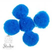 Текстильные мохнатые бусины-помпоны (5 шт), цвет - синий, 2 см